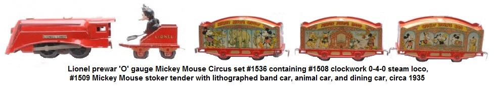Lionel prewar 'O' gauge Mickey Mouse Circus set #1536 containing #1508 clockwork 0-4-0 steam loco, #1509 Mickey Mouse stoker tender with lithographed band car, animal car, and dining car, circa 1935