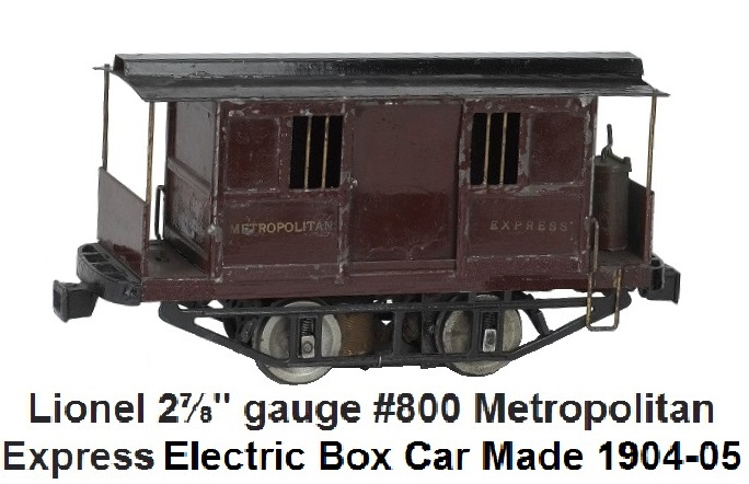 Lionel 2⅞ inch gauge #800 electric 0-4-0 Metropolitan Express Car, circa 1904-1905