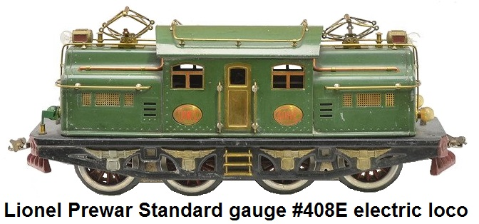 Lionel #408E standard gauge uncataloged electric loco in State car dark green with red pilots