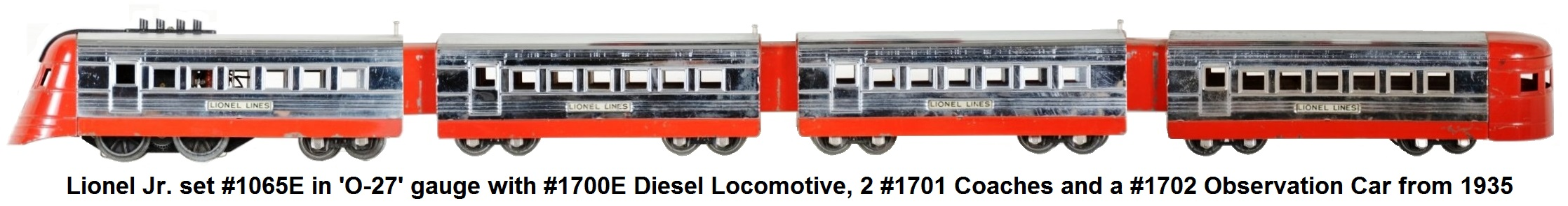 Lionel 'O-27' gauge #1065 Junior streamliner set from 1935 with #1700E diesel 2 #1701 coaches and #1702 observation