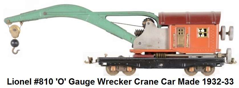 Lionel #810 'O' gauge Wrecker Crane made 1932-33