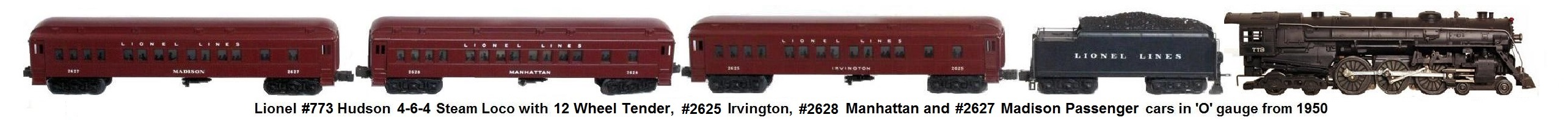 Lionel 'O' gauge #773 Hudson steam loco and Irvington passenger cars from 1950