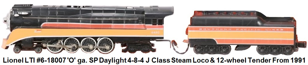 Lionel 'O' gauge LTI #6-18007 Southern Pacific Daylight J Class Steamer