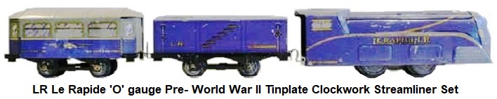 LR Le Rapide 'O' gauge Pre-World War II Clockwork Streamliner set