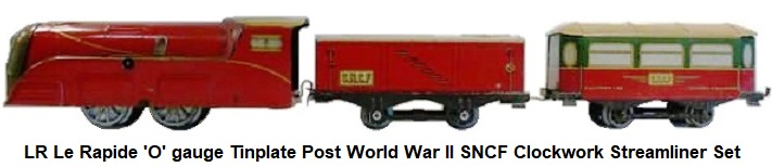 LR Le Rapide 'O' gauge Post-World War II Clockwork Streamliner set