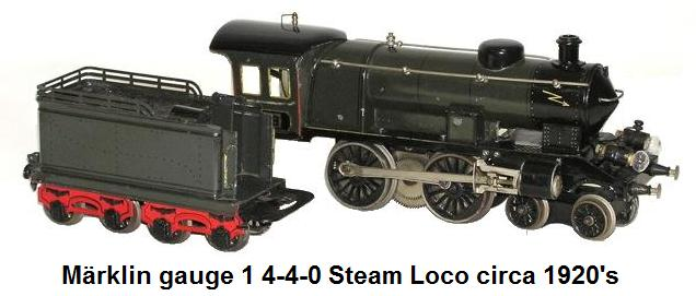 M�rklin gauge 1 4-4-0 steam loco & tender circa 1920's