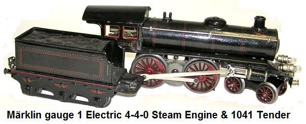M�rklin gauge 1 electric 4-4-0 steam engine and #1041 tender