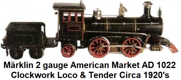 M�rklin 2 inch gauge 0-4-2 clockwork driven steam engine and 4 wheel tender made in the 1920's for the American market