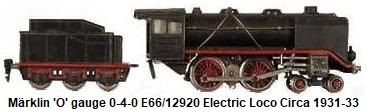 M�rklin 'O' gauge 0-4-0 #12920 electric loco & tender