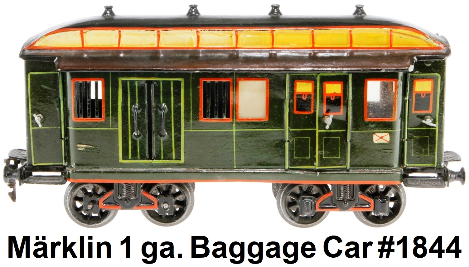 Märklin #1844 mail & luggage van circa early 1900's - hand decorated, tin soldered, with opening doors and hinged roof