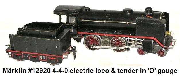 M�rklin #12920 4-4-0 electric locomotive & es929 tender pre World War II era 'O' gauge