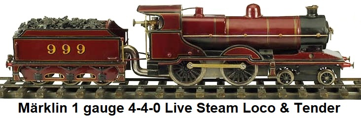 M�rklin 4-4-0 Live Steam loco & tender in gauge 1
