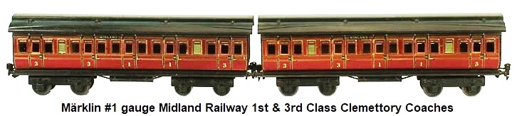 Märklin Clemettory coaches in gauge 1