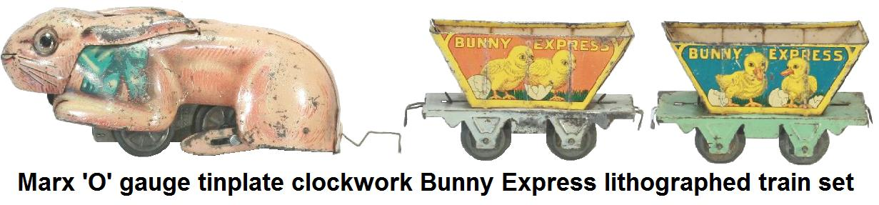 Marx tinplate lithographed clockwork Bunny Express train set in 'O' gauge cica 1930's