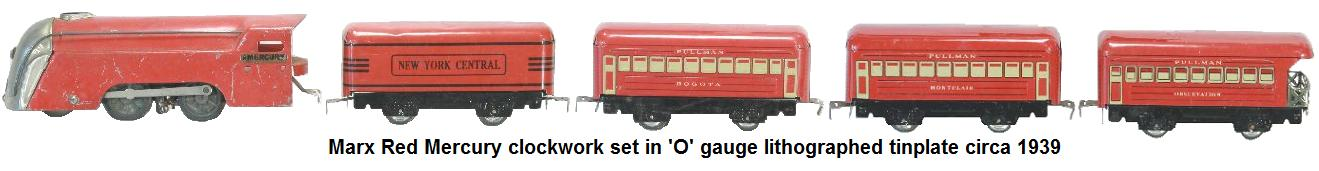 Marx 'O' gauge red Mercury clockwork Steam loco set lithographed tinplate circa 1939