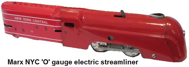 Marx tinplate lithographed electic NYC streamliner in 'O' gauge