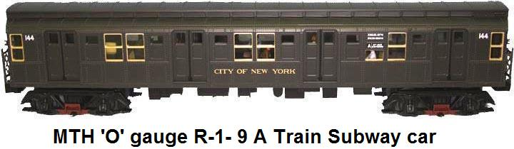 MTH 'A' train subway car in 'O' gauge