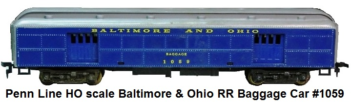 Penn Line HO scale Baltimore & Ohio RR Baggage Car #1059
