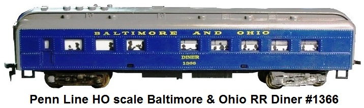 Penn Line HO scale Baltimore & Ohio RR Diner #1366