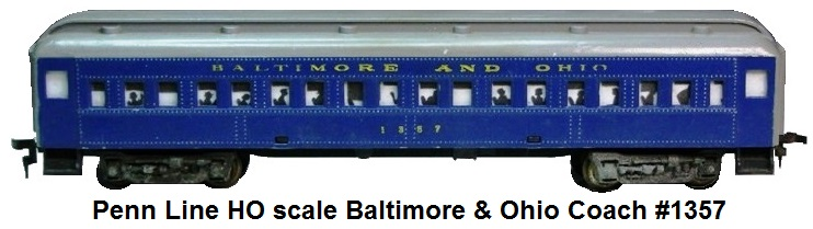 Penn Line HO scale Baltimore & Ohio RR Coach #1357