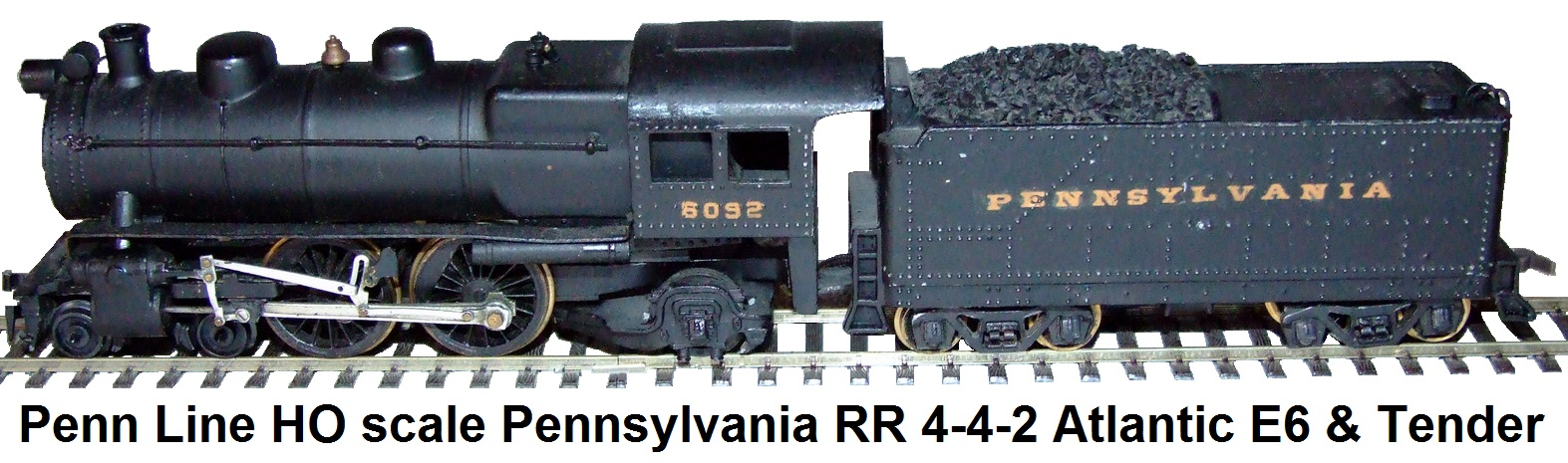 Penn Line HO scale Pennsylvania RR 4-4-2 Atlantic E6 Loco & Tender #6092