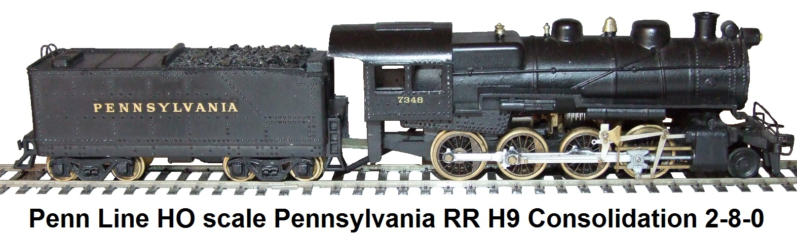 Penn Line HO scale Pennsylvania RR 2-8-0 Consolidation H-9 Loco & Tender #7346