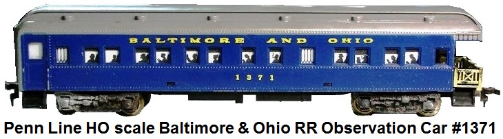 Penn Line HO scale Baltimore & Ohio RR Observation Car #1371