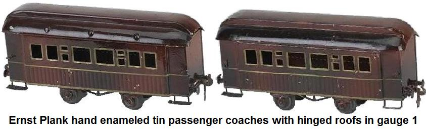 Ernst Plank hand enameled tin gauge 1 passenger coaches with hinged roofs