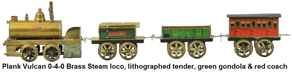 Ernst Plank Vulcan Brass locomotive 0-4-0 with lithographed four wheel tender, green gondola and red coach
