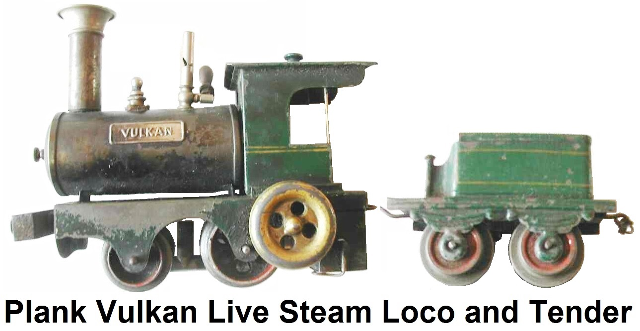 Ernst Plank Vulkan Live-steam 0-4-0 Loco with lithographed four wheel tender
