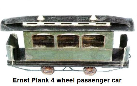 Plank primitive 4 wheel passenger car measures 16½ inches long, 8 inches high, 4½ inches wide. Has interior seats
