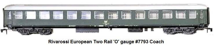 Rivarossi #7793 Two Rail 'O' gauge European Coach