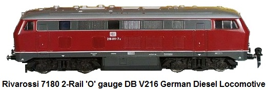 Rivarossi #7180 German Tedesco V160 diesel DB European Loco 'O' gauge plastic, double motor, 14 in long