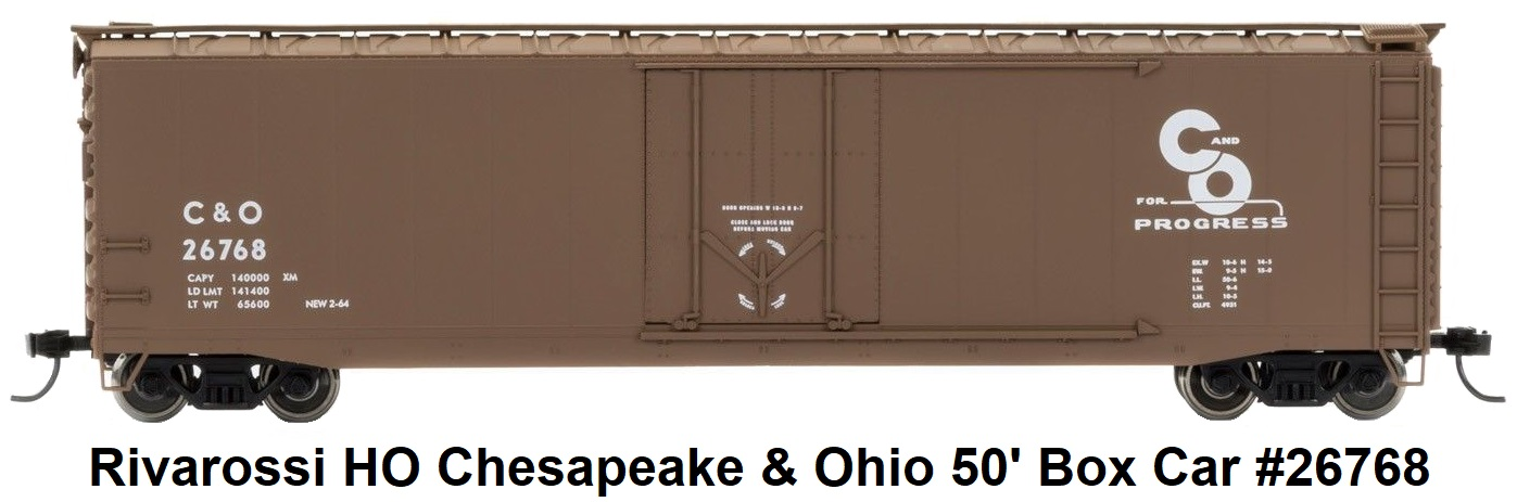 Rivarossi Chesapeake & Ohio 50' Plug Door Box Car #26768 in HO Scale
