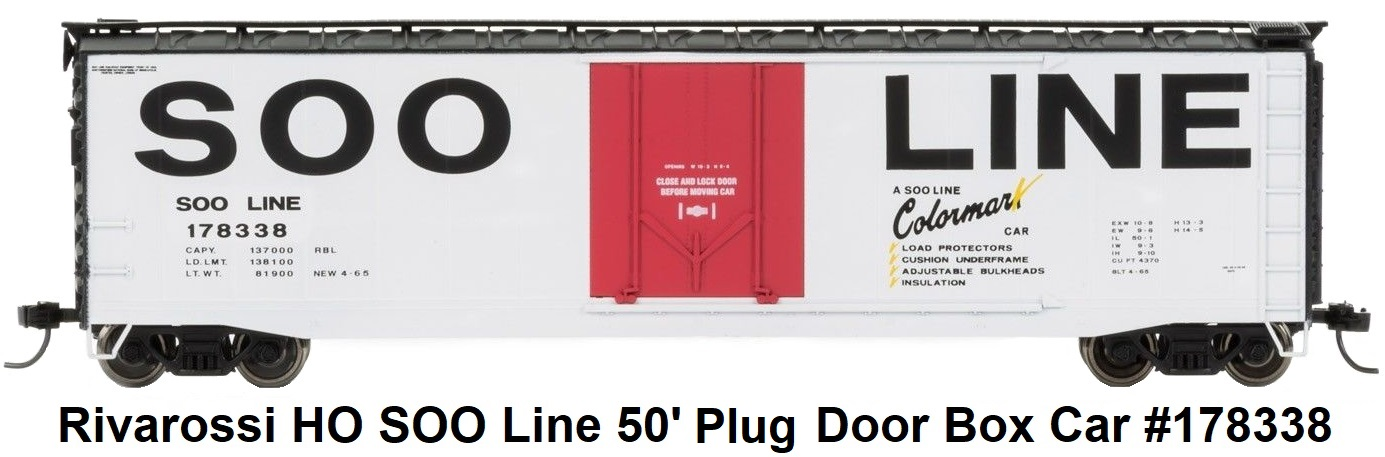 Rivarossi SOO Line Plug 50' Door Box Car #178338 in HO Scale
