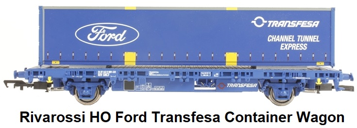 Rivarossi HO scale Ford Transfesa Channel Tunnel express Blue Train Container Wagon