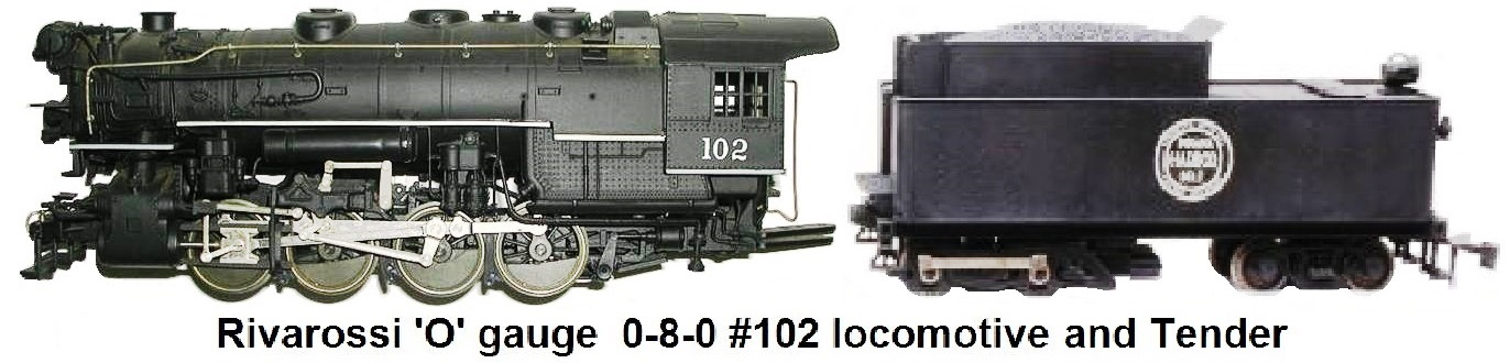 '0' gauge 2-rail Rivarossi 0-8-0 #102 Indiana Harbor Belt Steam Loco and Tender