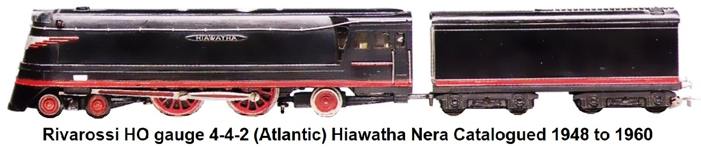 Rivarossi HO Scale Hiawatha 4-4-2 Atlantic Streamlined Loco in Black made 1948 to 1960