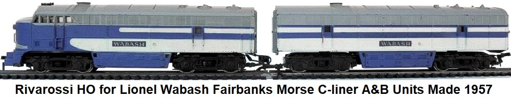 Rivarossi HO for Lionel Fairbanks Morse C-liner A&B diesel units in Wabash livery made circa 1957