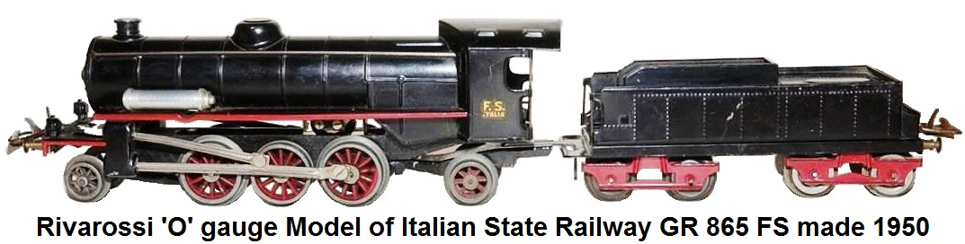 Rivarossi 'O' gauge Model of Italian State Railway GR 865 FS 2-6-2 Loco and 8-wheel Tender made 1950