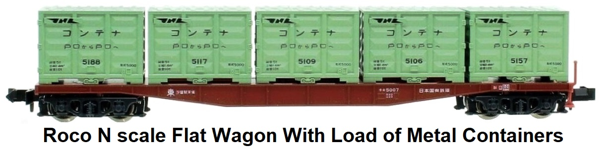 Roco N scale flat wagon With load of metal containers