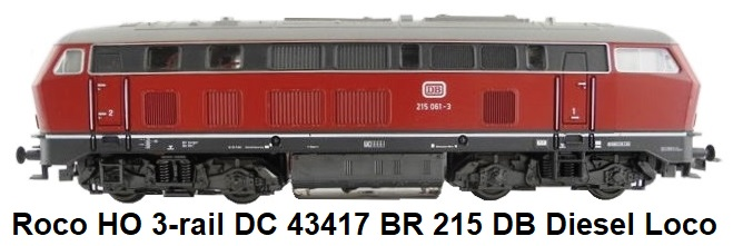 Roco HO 3-rail DC 43417 Diesel locomotive BR 215 of the DB in traffic red