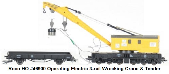 Roco HO scale #46900 operating electric 3-rail wrecking crane with tender