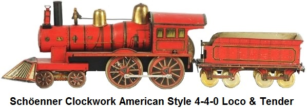Schöenner American Style lithographed clockwork locomotive and tender