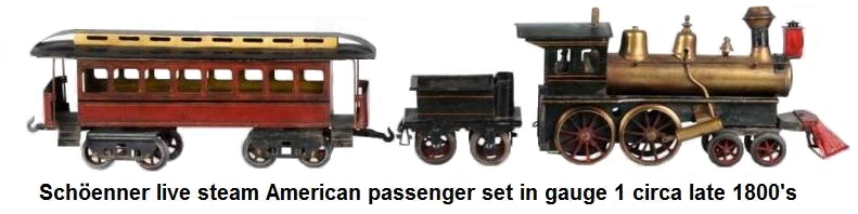 Schöenner American Passenger Set includes early American style 4-4-0 locomotive with four-wheel tender and eight-wheel passenger coach. All hand painted. Circa 1902. Live steam spirit fired.