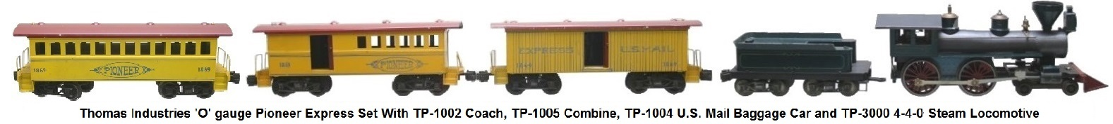 Thomas Industries Pioneer Set 'O' gauge with 1869 US Mail Boxcar, Coach and Combine