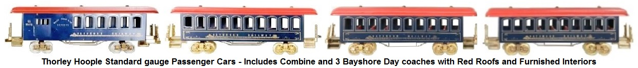 Thorley Hoople Toy Train Company Standard gauge Passenger Cars with red roofs - a combine car and 3 Bayshore day coaches with interiors