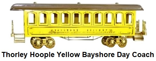 Thorley Hoople Toy Train Company Standard gauge yellow Bayshore Day Coach