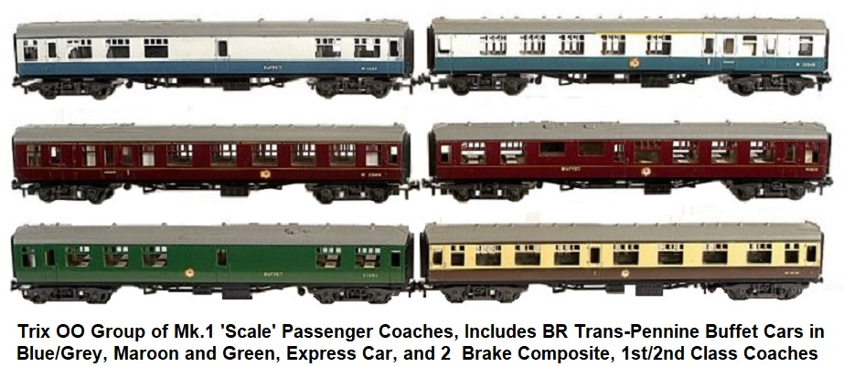 Trix group of Mk.1 Coaches. BR blue grey Trans Pennine Buffet Car, 2 x Brake Composite, 1st 2nd