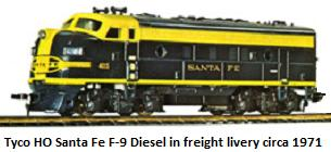 Tyco HO gauge Santa Fe F-9 Diesel in freight livery circa 1971